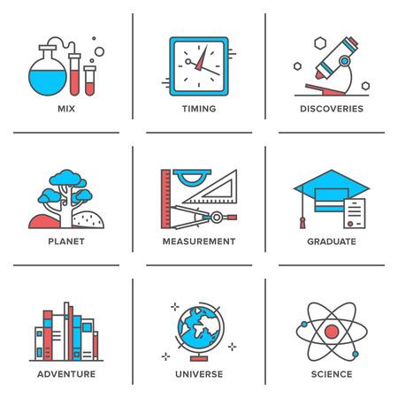 in lab: Iconos de la l�nea plana conjunto de cosas de descubrimiento de nuevos elementos de medici�n, la escuela, la ciencia y la qu�mica, aventuras planeta, planeta geograf�a.