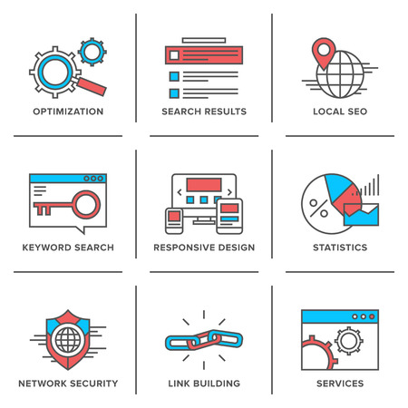 onderzoek: Vlakke lijn geplaatste pictogrammen van de website zoekmachine optimalisatie, seo analytics, netwerkbeveiliging, trefwoord management, webpagina verkeer ontwikkeling. Stock Illustratie
