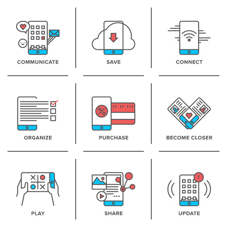 Flat line icons set of everyday smartphone apps using, lifestyle mobile communication, online store shopping, software update. Modern trend design style vector concept. Isolated on white background. Illustration