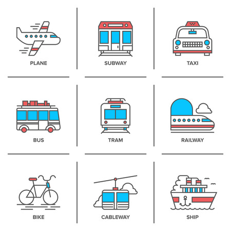lines: Flat line icons set of various transportation vehicle like plane, subway, taxi, bus, tramway, train, bike, cableway and sea ship.
