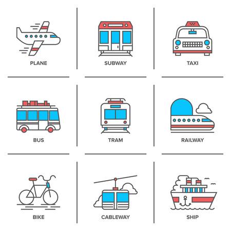 Iconos línea plana Conjunto de varios vehículos de transporte como el avión, metro, taxi, autobús, tranvía, tren, bicicleta, teleférico y barco del mar.