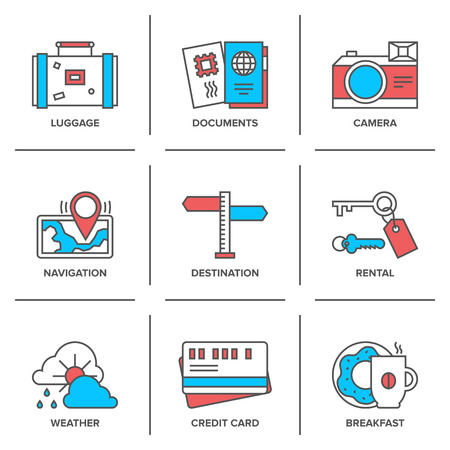 Flat line icons set of vacation traveling items, tourism documents, rental service, map navigation, travel route destination.  Vector