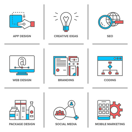 product development: Flat line icons set of web development, creative ideas, mobile marketing, website coding, seo optimization, business company branding.