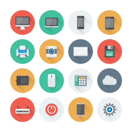Pixel perfect flat icons set with long shadow effect of computer technology and electronics devices, mobile phone communication and digital products. Flat design style modern pictogram collection. Isolated on white background.