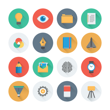 Pixel perfect flat icons set with long shadow effect of creative business development process, modern office workflow and creativity solution. Flat design style modern pictogram collection. Isolated on white background. Vector