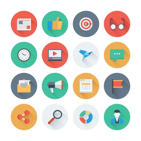 Pixel perfect flat icons set with long shadow effect of digital marketing symbol, business development items, social media objects and office equipment. Flat design style modern pictogram collection. Isolated on white background.
