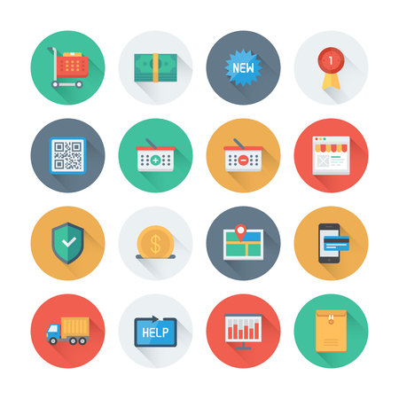 e shop: Pixel perfect flat icons set with long shadow effect of e-commerce shopping symbol, online shop elements and commerce item, internet store product. Flat design style modern pictogram collection. Isolated on white background. Illustration