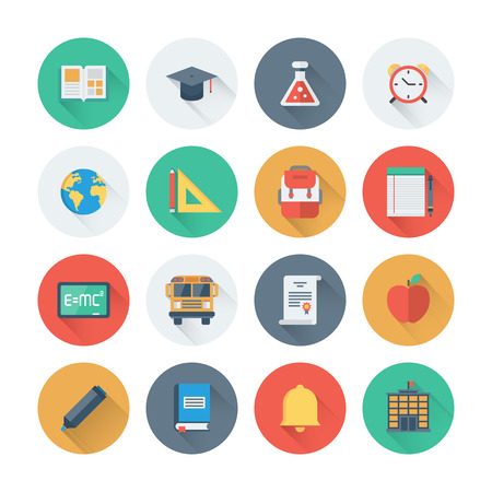 Pixel perfect flat icons set with long shadow effect of elementary school objects and education items, learning symbol and student equipment. Flat design style modern pictogram collection. Isolated on white background.