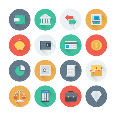 Pixel perfect flat icons set with long shadow effect of finance objects and banking elements, financial items and money symbol. Flat design style modern pictogram collection. Isolated on white background.
