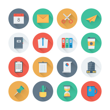 Pixel perfect flat icons set with long shadow effect of business items, office tools, working objects and management elements. Flat design style modern pictogram collection. Isolated on white background.