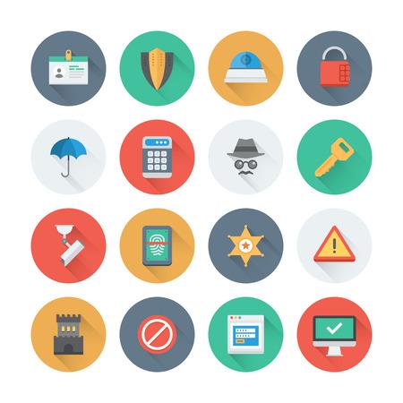 se�ales de seguridad: Pixel iconos planos perfectos establecen con efecto de sombra larga de diversos objetos de seguridad, informaci�n y sistema de protecci�n de datos, elementos de acceso de seguridad. Estilo de dise�o Flat colecci�n pictograma moderna. Aislado en el fondo blanco.