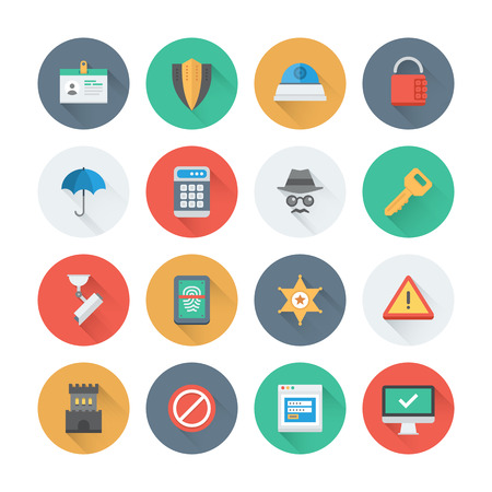 Pixel perfect flat icons set with long shadow effect of various security objects, information and data  protection system, safety access elements. Flat design style modern pictogram collection. Isolated on white background. Vector