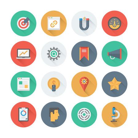 mercadotecnia: Pixel iconos planos perfectos establecidos con efecto de sombra larga de optimización de sitios web de búsqueda del motor, análisis seo y gestión de datos, desarrollo de tráfico web. Estilo de diseño Flat colección pictograma moderna. Aislado en el fondo blanco. Vectores