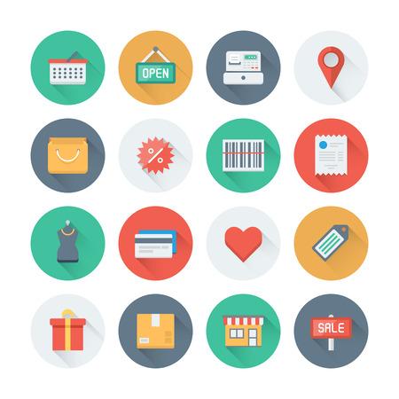 pakiety: Wirtualny ideał płaskie ikony ustaw z długim efektem cienia symbolu handlowego, sklepu i pozycji elementów handlu, obiektów rynkowych i przechowywania produktów. Mieszkanie Nowoczesny styl projektowanie kolekcji piktogram. Pojedynczo na białym tle.