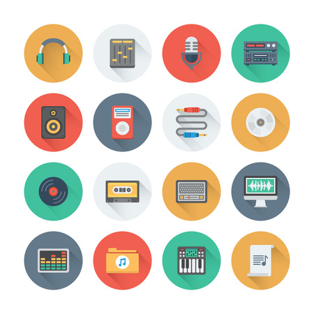 Pixel perfect flat icons set with long shadow effect of sound symbols and studio equipment, music instruments,  audio and multimedia objects. Flat design style modern pictogram collection. Isolated on white background. Vector