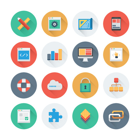 Pixel perfect flat icons set with long shadow effect of web development and website programming process, webpage coding and user interface creating. Flat design style modern pictogram collection. Isolated on white background. Vector