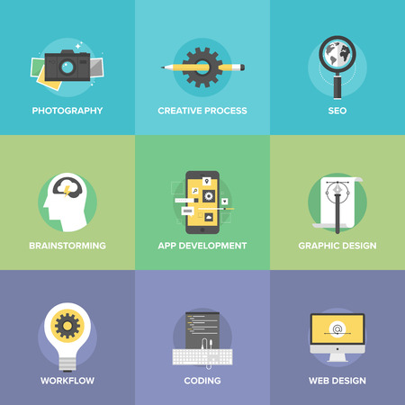Flat icons set of creative design process and mobile application development, brainstorming workflow, website coding, search engine symbol.  Vector