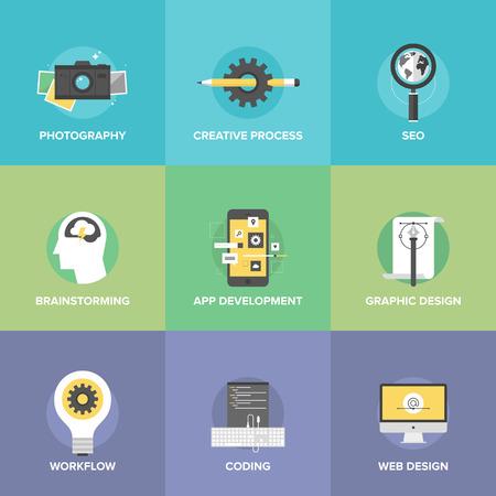 Iconos planos conjunto de proceso creativo de diseño y desarrollo de aplicaciones móviles, el flujo de trabajo de intercambio de ideas, el sitio web de codificación, símbolo de motor de búsqueda. Ilustración de vector