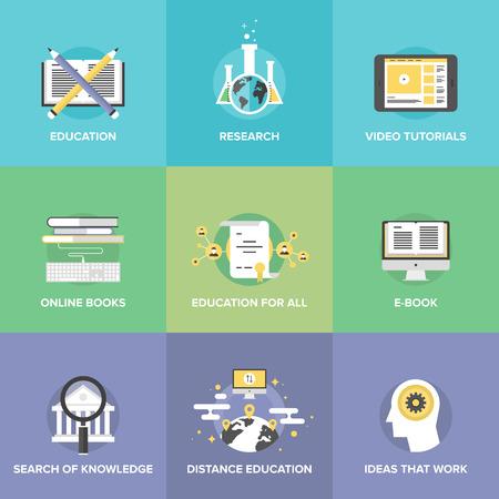 Iconos planos establecen la enseñanza gratuita a distancia, aprendizaje en línea, tutoriales en vídeo de Internet, libros electrónicos, búsqueda universitario internet. Vectores