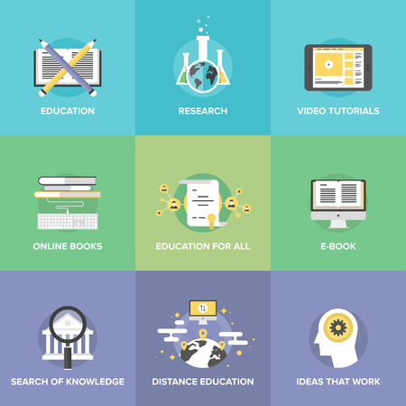 Flat icons set of free distance education, online learning process, internet video tutorials, electronic books, internet university search.