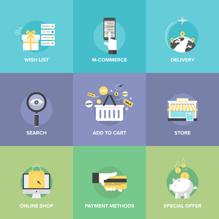 Flat icons set of online shopping services, e-commerce checkout payments, add to cart elements, worldwide delivery, web commerce search optimization.