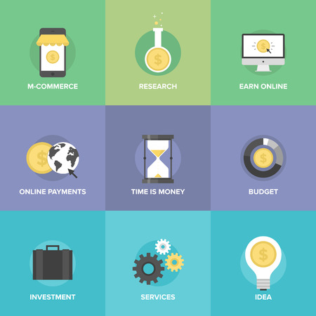 Flat icons set of  mobile commerce, online payments, internet earnings, budget planning, time is money, market research, funds investing service.  Vector