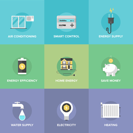 save energy: Flat icons set of smart house technology system with centralized control of lighting, heating, ventilation and air conditioning, energy savings and efficiency. Illustration