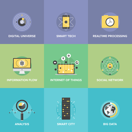 Flat icons set of smart futuristic communication, internet of things technologies, global digital social network connection, big data analytic. Stock Illustratie