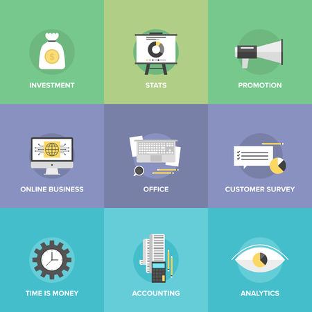 Le icone piane set di soldi investendo, contabilità aziendale, statistiche finanziarie, servizio sondaggio clienti, business online, ufficio sul posto di lavoro. Vettoriali