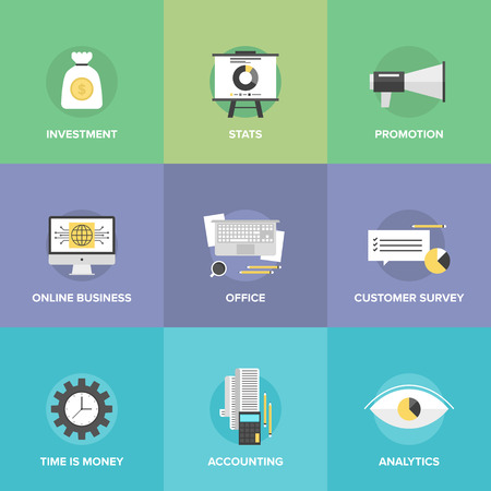Flat icons set of investing money, corporate accounting, financial statistics, customer survey service, online business, office workplace.  Illustration