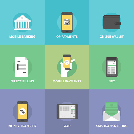 Flat icons set of  mobile payments and internet purchasing, direct money transfer, online banking on smartphone, near field communication service. Vector