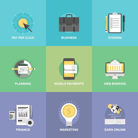モバイル支払いサービス、事業計画組織、財務分析プロセス、マーケティングの利益のアイデア、オンラインでお金収益のフラット アイコン セット  イラスト・ベクター素材