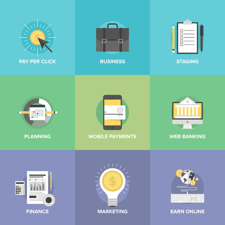 Flat icons set of mobile payments services, business planning organization, financial analytics process, marketing profit ideas, online money earnings.