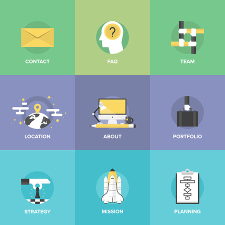 Flat icons set of organization planning process, business strategic vision and tactics, team building and developing solution for creative project. Vector