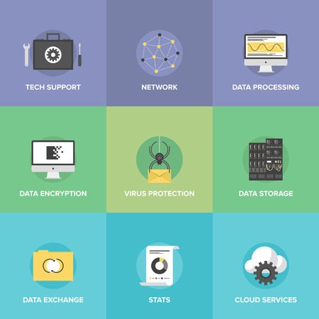 Flat icons set of big data storage protection, cloud computing communication services, technical support, network connection and information exchange.