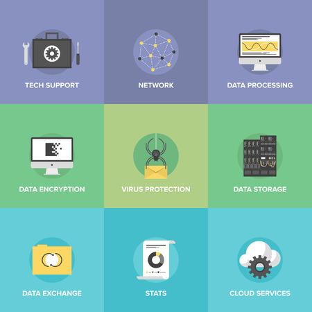 feldolgozás: Lapos ikonok beállítása nagy adattárolás védelme, a számítási felhő szolgáltatások, a technikai támogatás, a hálózati kapcsolat és az információcserét. Illusztráció