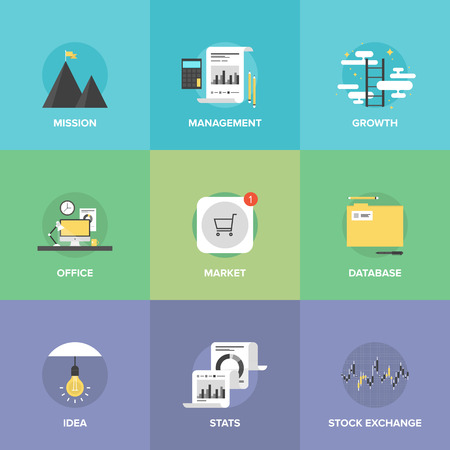 mission: Flat icons set of creative office workplace, app store market sales, business management, success mission and growth ladder, stock exchange statistics.