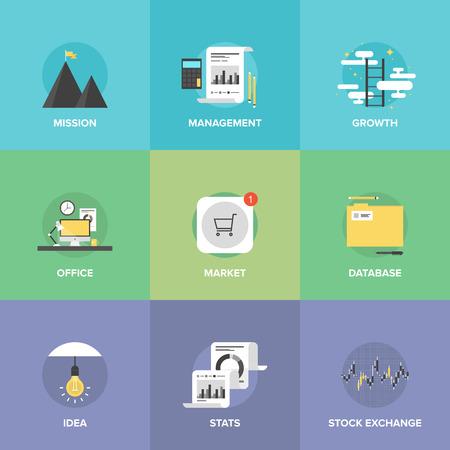 mision: Iconos planos establecidos de lugar de trabajo de oficina creativa, ventas en el mercado de la App Store, la gestión empresarial, la misión y el éxito escalera de crecimiento, las estadísticas de la bolsa de valores. Vectores