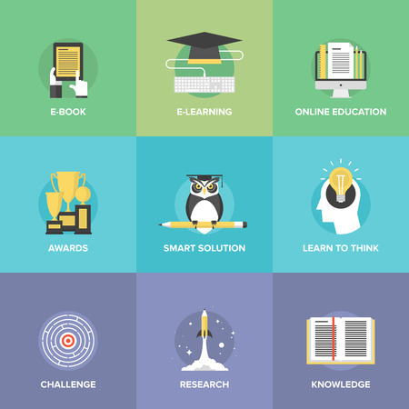 seminar: Flat icons set of online education, smart ideas and thinking symbol, electronic learning process, awards winning, knowledge and wisdom elements.