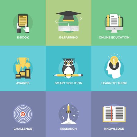 Iconos planos conjunto de la educación en línea, ideas inteligentes y símbolo de pensamiento, aprendizaje electrónico, ganar premios, los conocimientos y elementos de juicio.