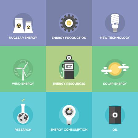 onderzoek: Flat iconen set van wereld energiebronnen en schone energie, geavanceerde technologieën, duurzame ontwikkeling van natuurlijke hulpbronnen, biobrandstof, zonne-energie en windenergie. Stock Illustratie