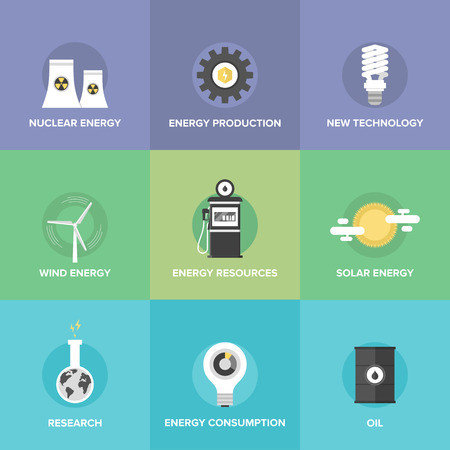 atomic energy: Flat icons set of world energy resources and clean energy, advanced technologies, sustainable development of natural resource, bio fuel, solar and wind energy.