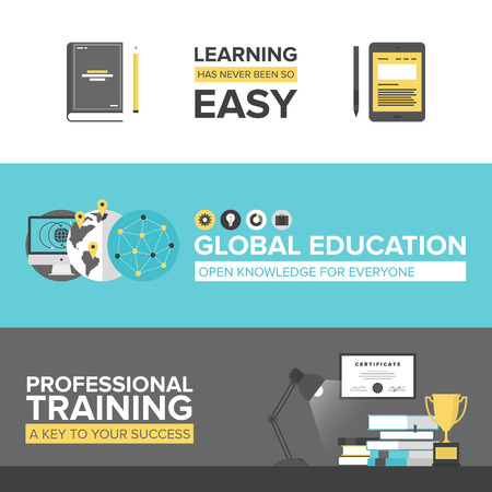 Flat banner set of global online education, success professional training, electronic learning process, awards winning and knowledge elements. Modern design style illustration concept. Çizim