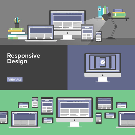 Flat banner set of responsive design web interface, creative studio workflow, html website coding for desktop and mobile devices, webpage prototyping process. Modern design style vector llustration concept. Vector