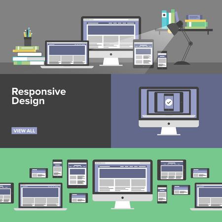 banner website: Flat banner set van responsive design web-interface, creatieve studio workflow, html website codering voor desktop en mobiele apparaten, webpagina prototyping proces. Modern design stijl vector llustration concept. Stock Illustratie