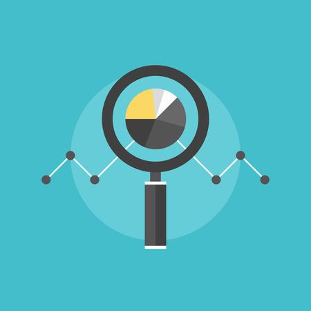 onderzoek: Marketing data-analyse, de analyse van statistische grafiek, vergrootglas met beurs grafiek cijfers. Vlakke icoon modern design stijl vector illustratie concept. Stock Illustratie