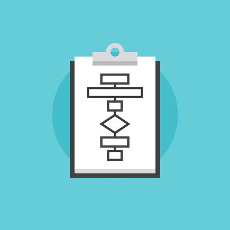 흐름: 클립 보드에 비즈니스 모델 및 시스템 전략의 비즈니스 흐름도 계획 프로세스 개념. 플랫 아이콘 현대적인 디자인 스타일의 벡터 일러스트 레이 션 개념입니다.