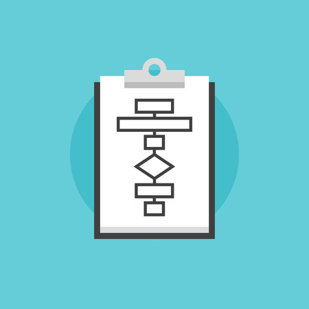 data flow: Business flowchart planning process concept of the business model and system strategy on clipboard. Flat icon modern design style vector illustration concept. Illustration