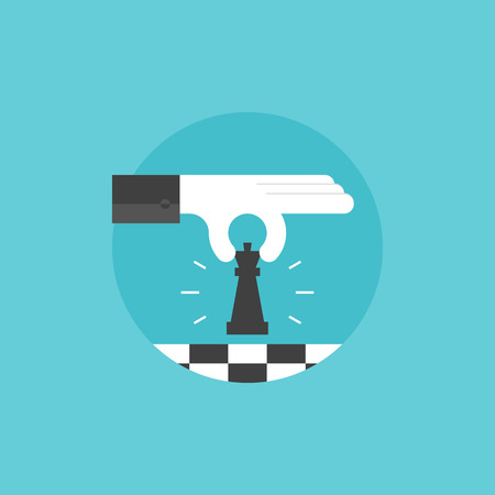 strategies: Business strategy and leadership concept - businessman playing chess and making a winning move. Flat icon modern design style vector illustration concept.
