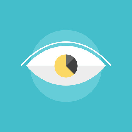vision concept: Business vision with marketing data analytics information diagram in the eyeball. Flat icon modern design style vector illustration concept. Illustration